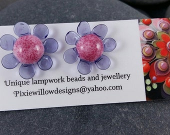 Diddy daisy lampwork surgical steel stud post earrings MTO