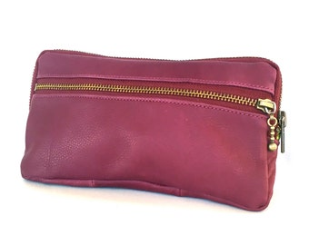 leather clutch in orchid