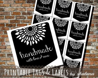 Printable PDF Craft Show Tags - Blackboard Style Handmade with Love & Care Labels or Stickers featuring a Flower