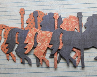 4 Carousel HORSE distressed orange/blue chipboard covered die cuts 4 inches  x 3 3/8 inches [4GAA 016]