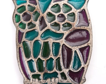 Vintage Stained Glass Owl Trivet