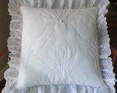 Decorative Pillow Cover, Handmade White Pillow Cover, Pillow Cover, Hand Quilted, White, Lovebirds, Heart, Sixteen Inch Pillow Cover