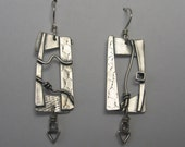 Rectangle sculpturale avec Triangle Sterling boucles d'oreilles
