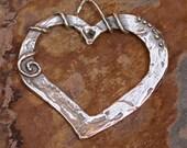 Artisan Open Heart Pendant in Sterling Silver, 426j