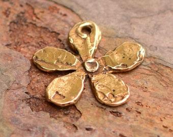 Artisan Bronze Mod Flower,  Five Petal Flower Pendant in Bronze, CH-458