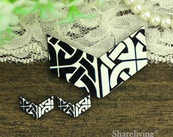 Black White Geometric Chevron Wood Charm, Wood Chevron Necklace, Wood Print Set - HWC951W