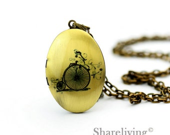1pcs Vintage Bicycle Bird Locket Pendant, Handmade Antique Bronze Brass Oval Bike Photo Locket Charm - HLK308H