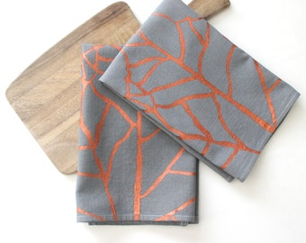 Copper Autumn Leaves Napkin Set - Autumnal Decor - Fall Harvest Leaves - Copper and Grey Reusable Cloth Napkins