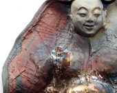 RESERVED FOR JOANNE: Laughing Buddha Statue With Golden Belly Wall Art Sculpture Blue Copper Red Raku Ceramics