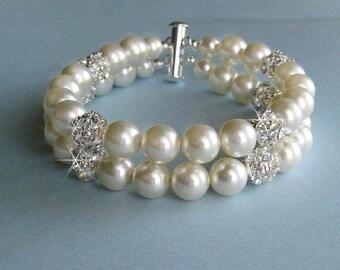 Wedding Bracelet, Large Pearl & Crystal Rhinestone Bridal Bracelet, Pearl and Crystal Double Strand Bracelet, Cuff Bracelet, Wedding Jewelry