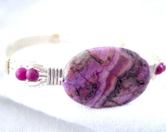 """Purple Flat Oval Agate Sterling Silver Metal Wire Wrapped Bracelet 7"""" to 7-1/2"""""""