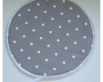 Aga Hob Lid Mat Pad Round Hat Cover Grey and White Kitchen Topper With Loop Polka Dot Dots Spot Spots Spotted Spotty Dotty Gray Polkadot