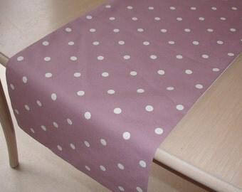 "Mauve and White Polkadot Table Runner 4ft Polka Dot Dots Polkadots 48"" 120cm"