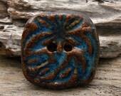 BATIK BUTTON - Blue with Bronze Accent Button - Handmade Ceramic Button - #1