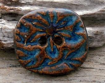 BATIK BUTTON - Blue with Bronze Accent Button - Handmade Ceramic Button - #4