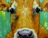 Cow painting 1051 30x30 inch animal original oil painting by Roz