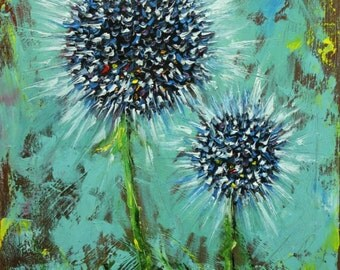 Floral painting 230 Thistle 18x24 inch original still life oil painting by Roz