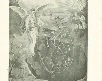 ON SALE Vintage Angel Illustration Print The Devil Satan Antique Christian 1911 Book Plate