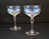 Iridescent Champagne Coupe Glasses {Vintage Aurora Borealis Cocktail Wine Coupes Multicolor Glasses Drinkware Barware Bar Cart}
