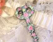 Antique Skeleton Key Pendant Hand Painted Roses Upcycled Jewelry Pastel Pink Green Roses Blue Patina Flower Pendant Floral Shabby Chic Art