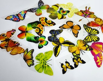 E8 YELLOW UNCUT Butterfly pack - 20 per pack - scrapbooking, card making, crafts