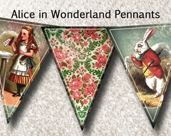 ALiCe in WoNDeRLaND BaNNeR Pennants Flags- INSTaNT DOWNLoAD- Printable digital collage sheet JPG Digital File-WhiMsiCAL art altered