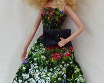 """11.5"""" Fashion Doll Handmade Dress is ready now- floral dress with leather purse"""