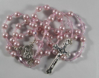 Rose Pink Pearl and Swarvoski Crystal Rosary *FREE SHIPPING*