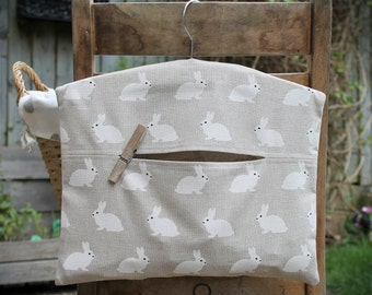 Clothespin Bag, Peg Bag in White Rabbit Print Linen Look Cotton Fabric
