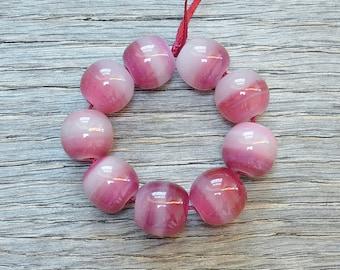 40% off - Raspberry Bonbons, opalescent - Lampwork beads by Loupiac
