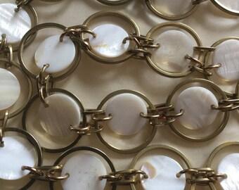 Vintage Chain Belt With MOP Disks Golden Links