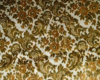"""Vintage Hollywood Regency CUT VELVET Upholstery Fabric 62"""" x 54""""  Gold and Green"""