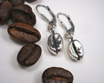 Sterling Silver Earring, Coffee Bean Earring, Sterling Coffee Bean, Lever Back, Dangle Earring, Coffee Bean Charm Earring