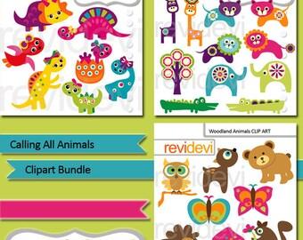 Calling all animals clipart bundle / dinosaur clipart, woodland animals, jungle safari animals clip art / digital graphics