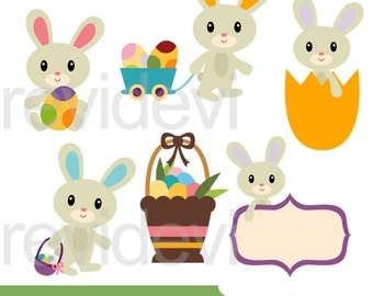 Easter clipart, Cute Easter Bunnies clipart, digital images, commercial use clip art, Easter bunny