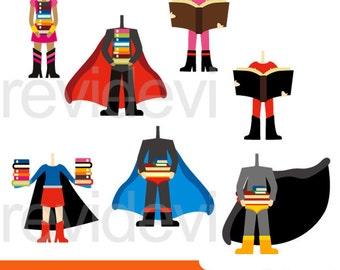 Superhero clipart - superhero body with books clipart digital - commercial use clip art superheroes