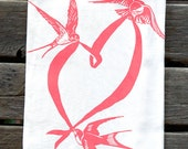 Swallows and Heart Flour Sack Kitchen Towel