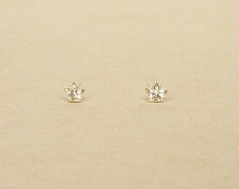 3 mm Teeny Tiny Clear Crystal 925 Sterling Silver 5 Prongs Star Stud Earrings,Bridesmaid Gift,Hypoallergenic Earrings,Cartilage Earrings