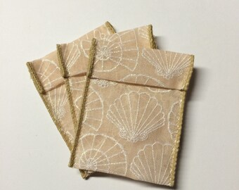 Jewelry Bead Pouches - 15 Sea Shells Sand - Ribbon