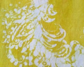 Girl's 4 tropical yellow and white batik tank dress