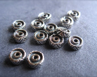 Solid Sterling Silver Spacers - Aztec edge - thick - 4mm X 2.5mm - 4