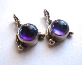 Matching Amethyst semiprecious gemstone drops set in sterling silver - Pair