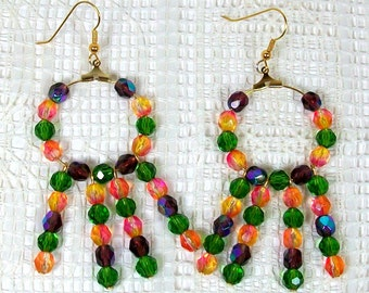 Hoop Earrings with Dangles - Multicolored Crystal Earrings - Handmade Earrings