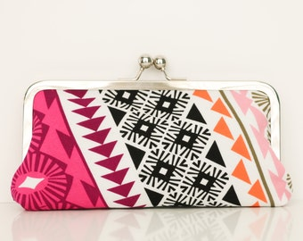 Tribal Kisslock Clutch - Kisslock Frame Clutch in PInk, Black, and Orange Aztec Fabric - Kisslock Clutch