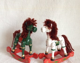 Vintage Wood Horse Ornaments, Pair of Collectible Wooden Rocking Horses from Republic of China, 1970s Christmas Collectible Ornaments