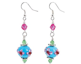 Tropical Flower Lampwork Earrings