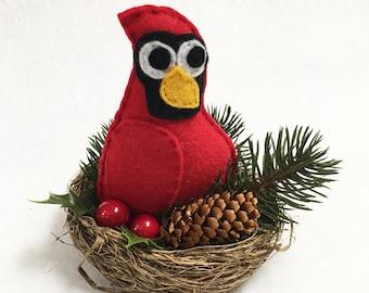 Cardinal Nest, Christmas Decoration, Julio the Cardinal, Winter Nest, Pinecone and Berries, Centerpiece