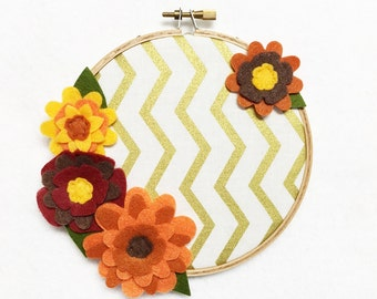 Fabric Wall Art, Embroidery Hoop Art, Regal Autumn, Fall Decoration, Floral Wall Decor, Hoop Wall Hanging, Felt Flower Hoop