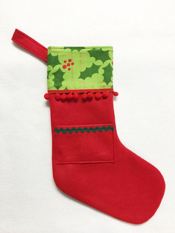Felt Stocking, Pocket Stocking, Pocket Peeper - Holly Jolly, Red Stocking