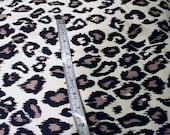 cream leopard print cotton sweatshirt fleece - 1+ yard
